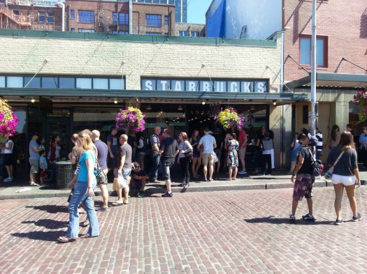 The first Starbucks store located at Pike Place Market--the line was so long!