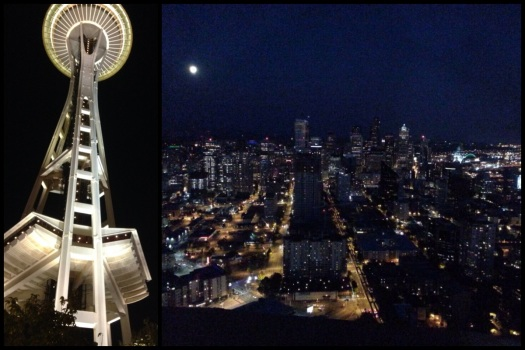 Space Needle. Left: how it looks at night. Right: nighttime Seattle view from the top.