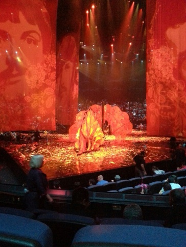 The stage at the end of the performance.