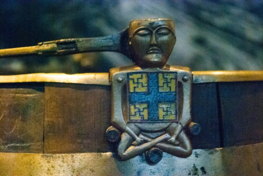 An emblem on a bucket that is part of the grave goods found onboard the Oseberg Ship.