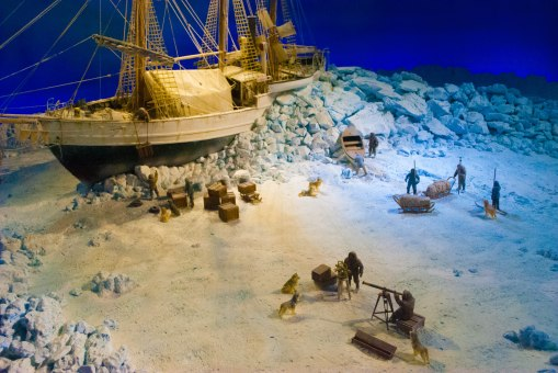 A diorama on polar expedition, not sure if it depicts a specific event though.