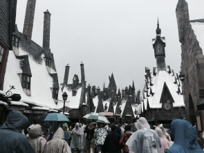 Muggles invading Hogsmeade on a rainy day, Universal Islands of Adventure.