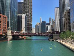 View from the bridge, overlooking the Chicago Riverwalk.